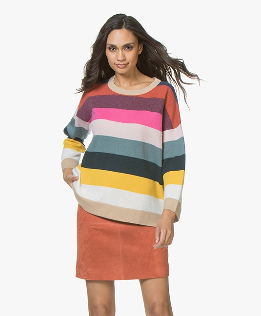 Repeat Cashmere Trui met Streepdessin - Multi-color