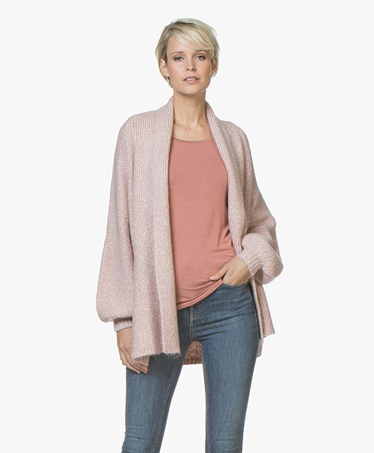 Repeat Open Mouline Cardigan with Shawl Collar - Pink
