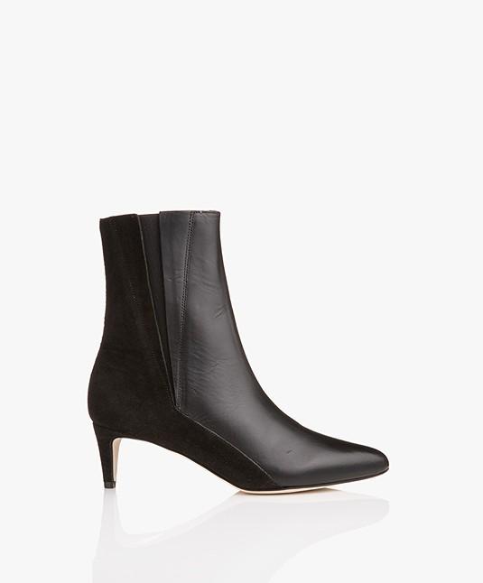ATP Atelier Nila Kitten Heel Ankle Boots - Black Suede/Vacchetta