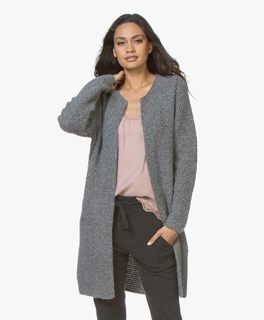 Sibin/Linnebjerg Yang Open Moss Knit Cardigan - Dark Grey Melange