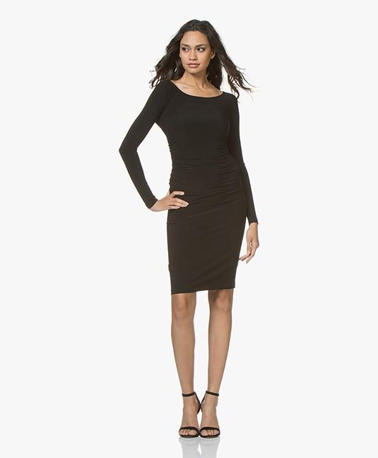Norma Kamali Shirred Long Sleeve Travel Jersey Dress Black