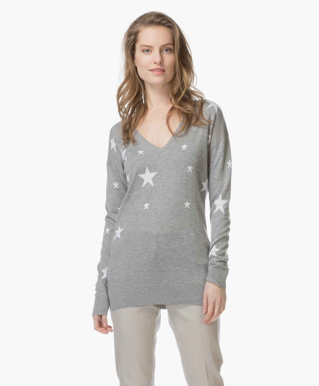 Baukjen Loxley Intarsia Star Print Sweater - Grey/Off-white - tp788 |  loxley gmw - marl and off