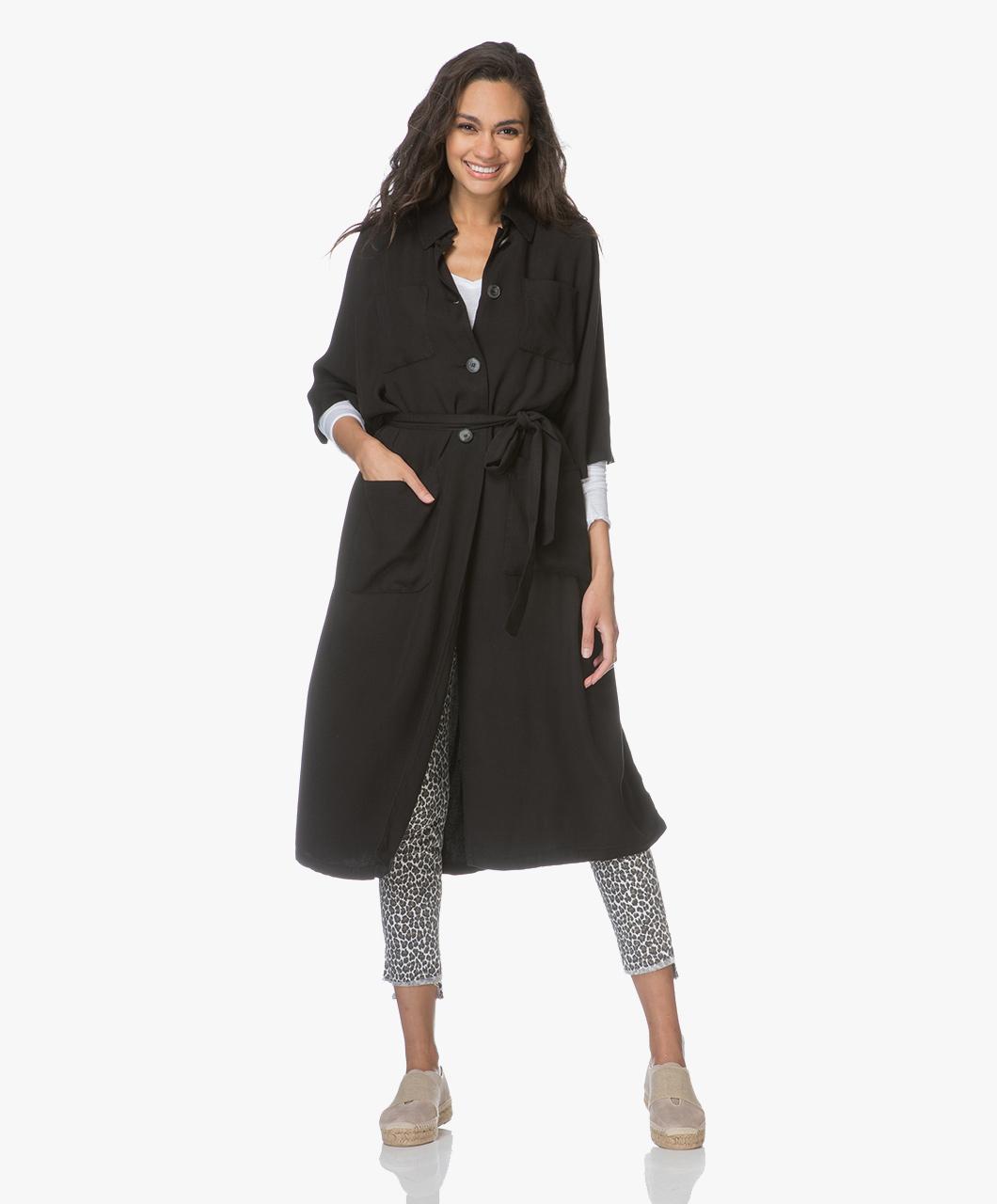 Immagine di American Vintage Coat Carbon Black Janebay Oversized Lyocell
