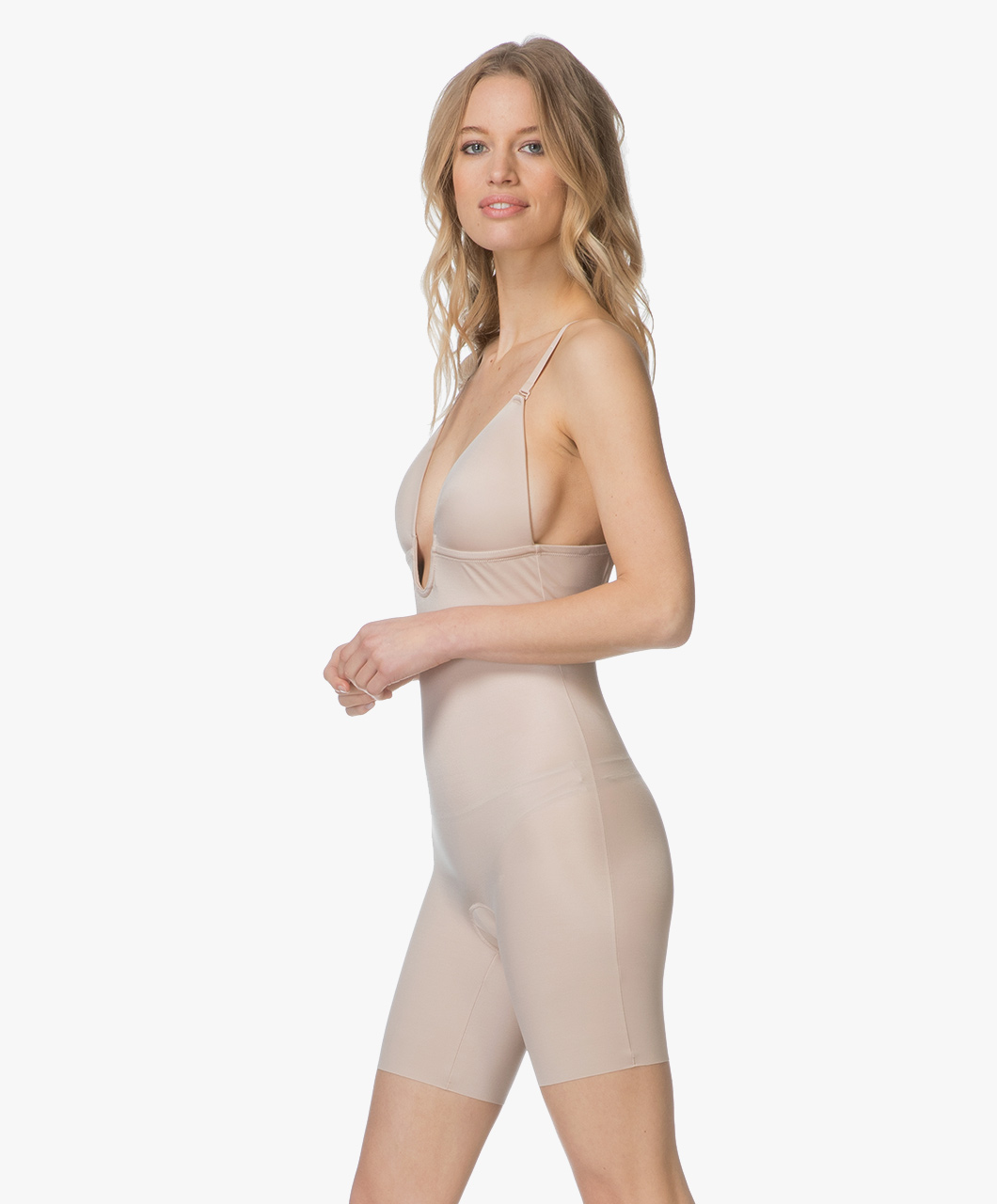 e22b4e3a299 SPANX® Suit Your Fancy Mid-Thigh Bodysuit Plunge - Champagne Beige - spx  10157r 1603 - champagne