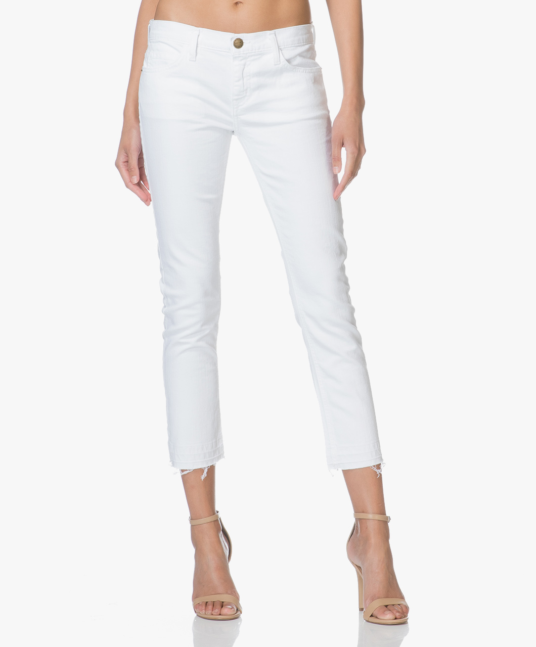 Afbeelding van Current/Elliott Jeans The Cropped Straight Leg Sugar Wit