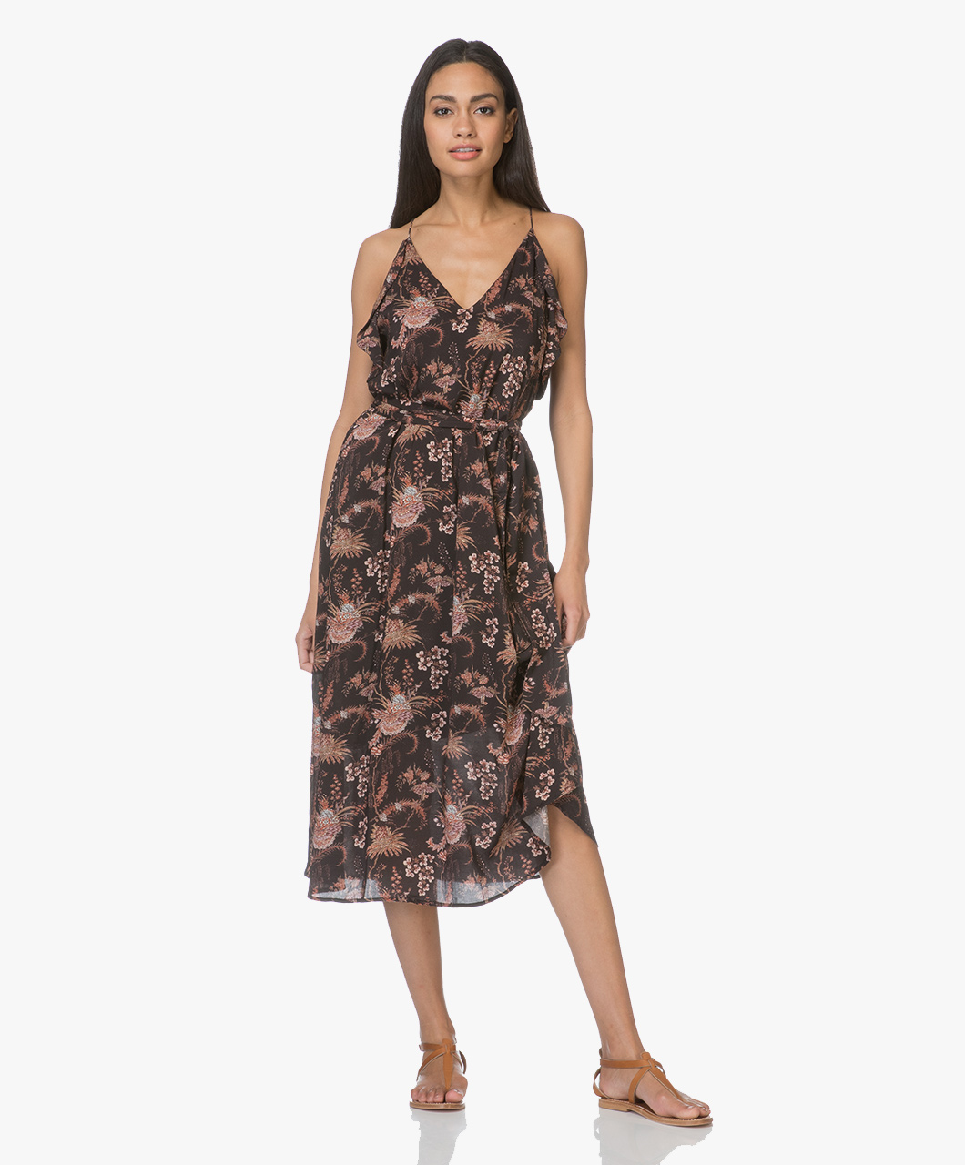 ffd219e3fd91b Magali Pascal Whisper Viscose Print Ruffle Dress - Black Valence - whisper  dress print valence