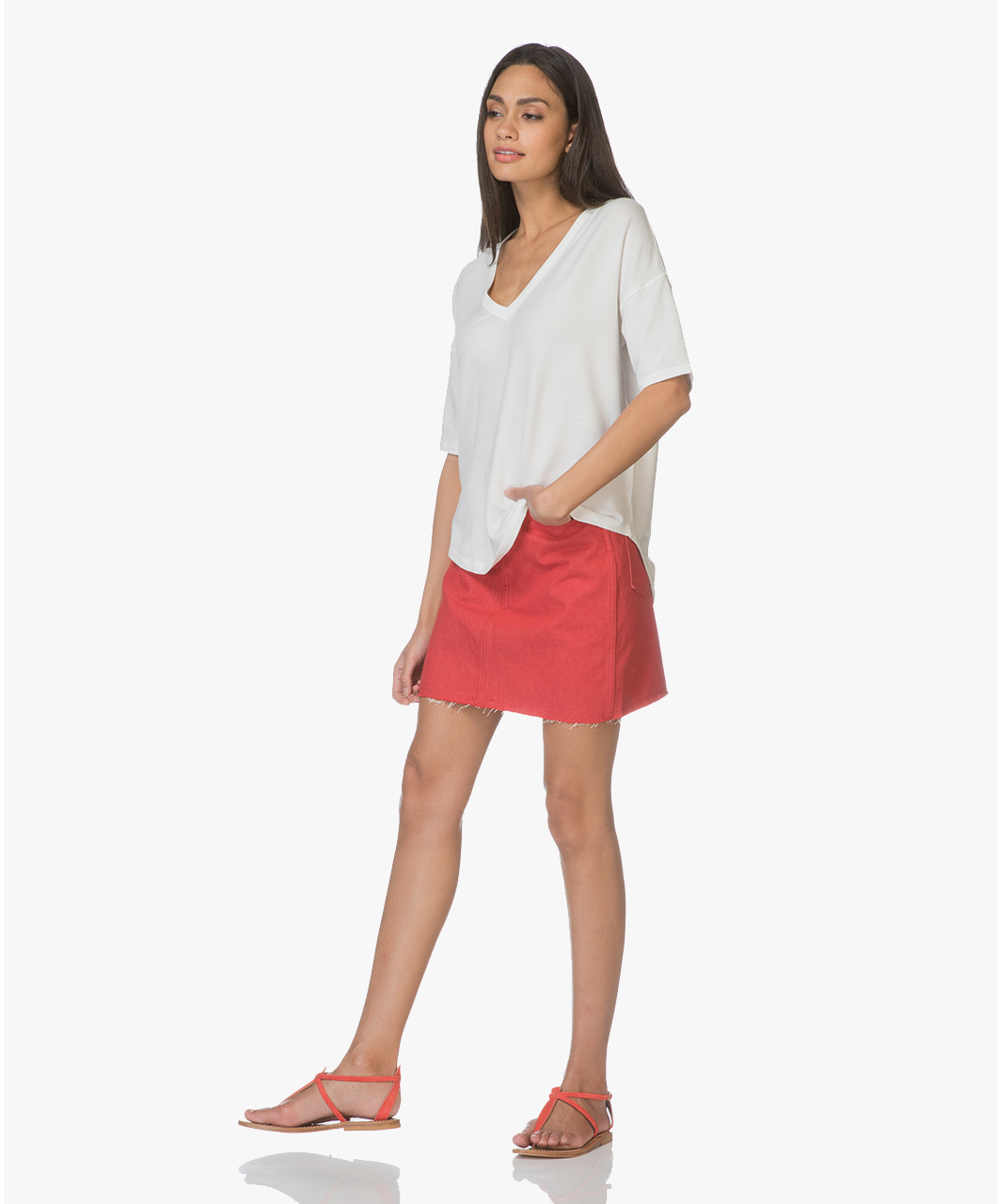 14592825a0 Rag & Bone / Jean Moss Denim Skirt - Bull Red - Rag & Bone / Jean