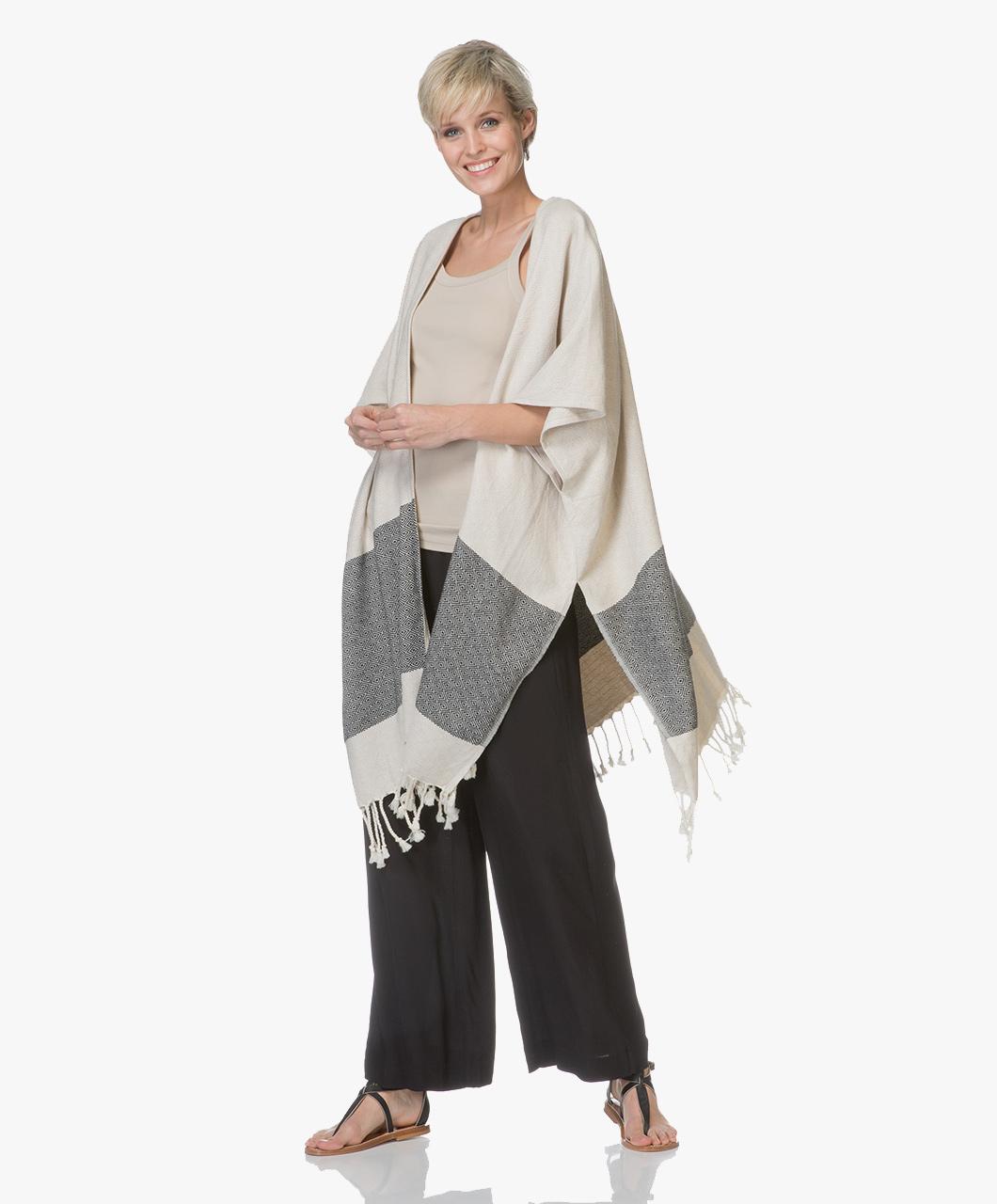 Afbeelding van Bon Bini Vest Kimono Nikiboko Poncho in Beige