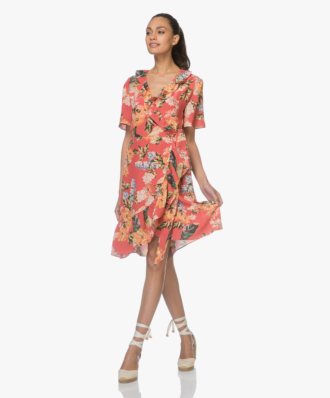 Fwss Synne Silk Floral Dress The Tropical Red Fwss