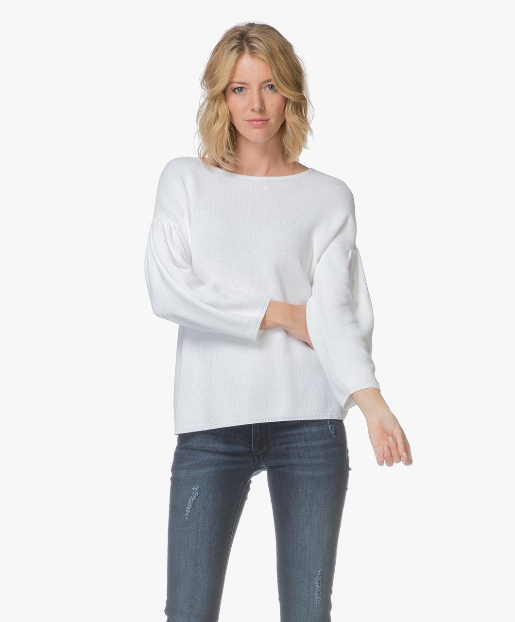 Boss Orange Westona Silk Blend Pleated Sleeve Sweater - White - westona |  50388393 100