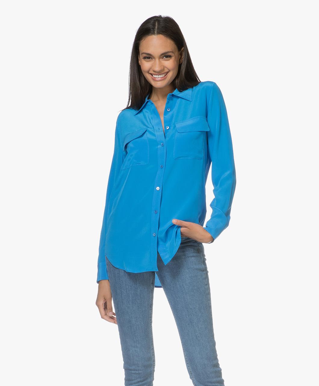 Afbeelding van Equipment Blouse Slim Signature Washed silk in Zwart Brilliant Blauw