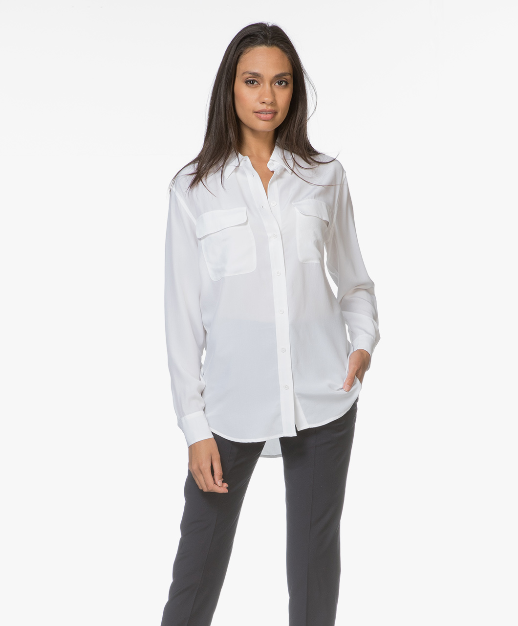 Afbeelding van Equipment Blouse Signature Washed silk in Bright White