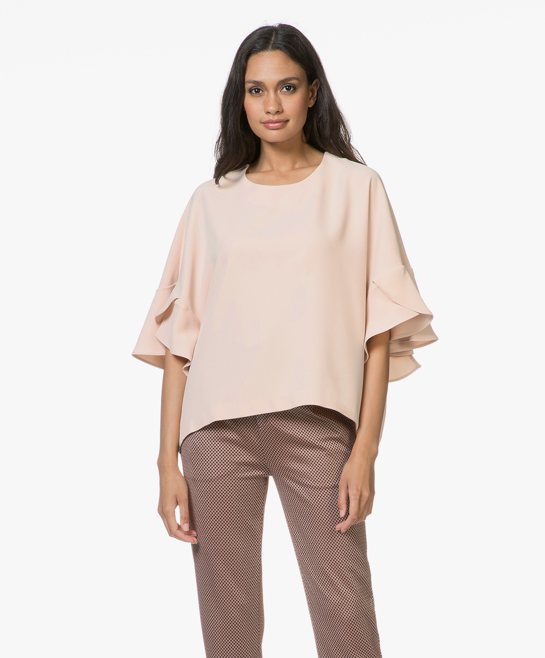 07d117e8455c16 IRO Ultra Crepe Blouse with Frill Sleeves - Nude - 18wwp16ultra bei11