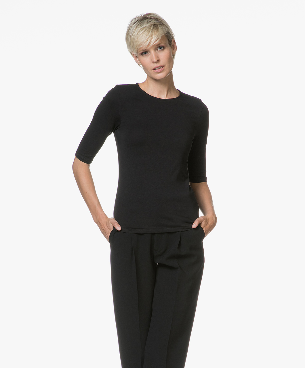 Filippa K Cotton Stretch Elbow Sleeve T shirt Zwart