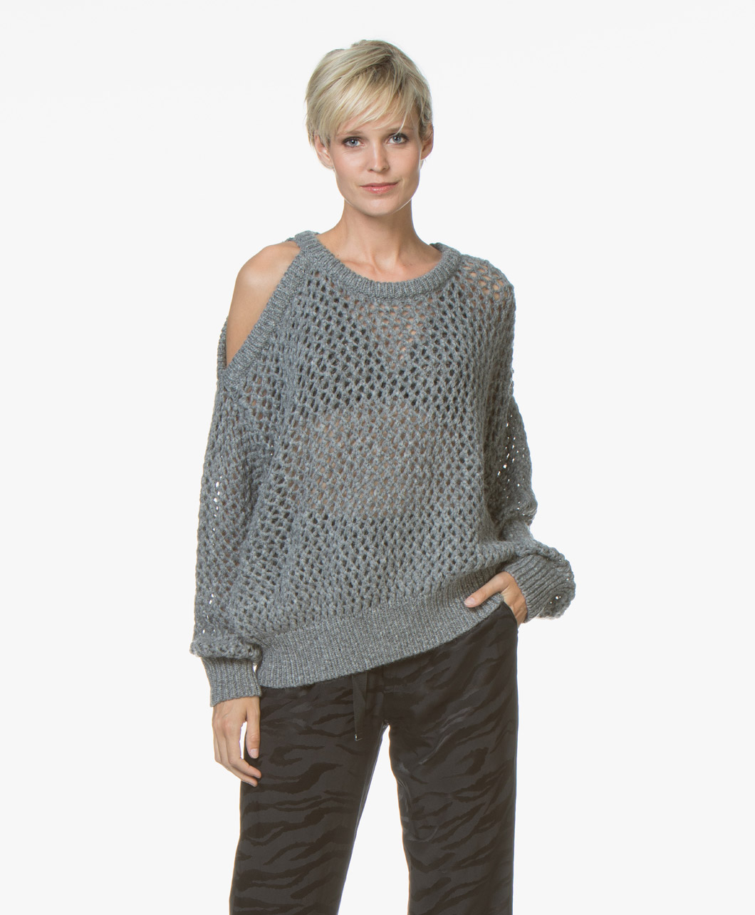 Pullover Mixed Shoulder 18wwp12breath Breath Gry08 Cold Grey Iro qOwUC44