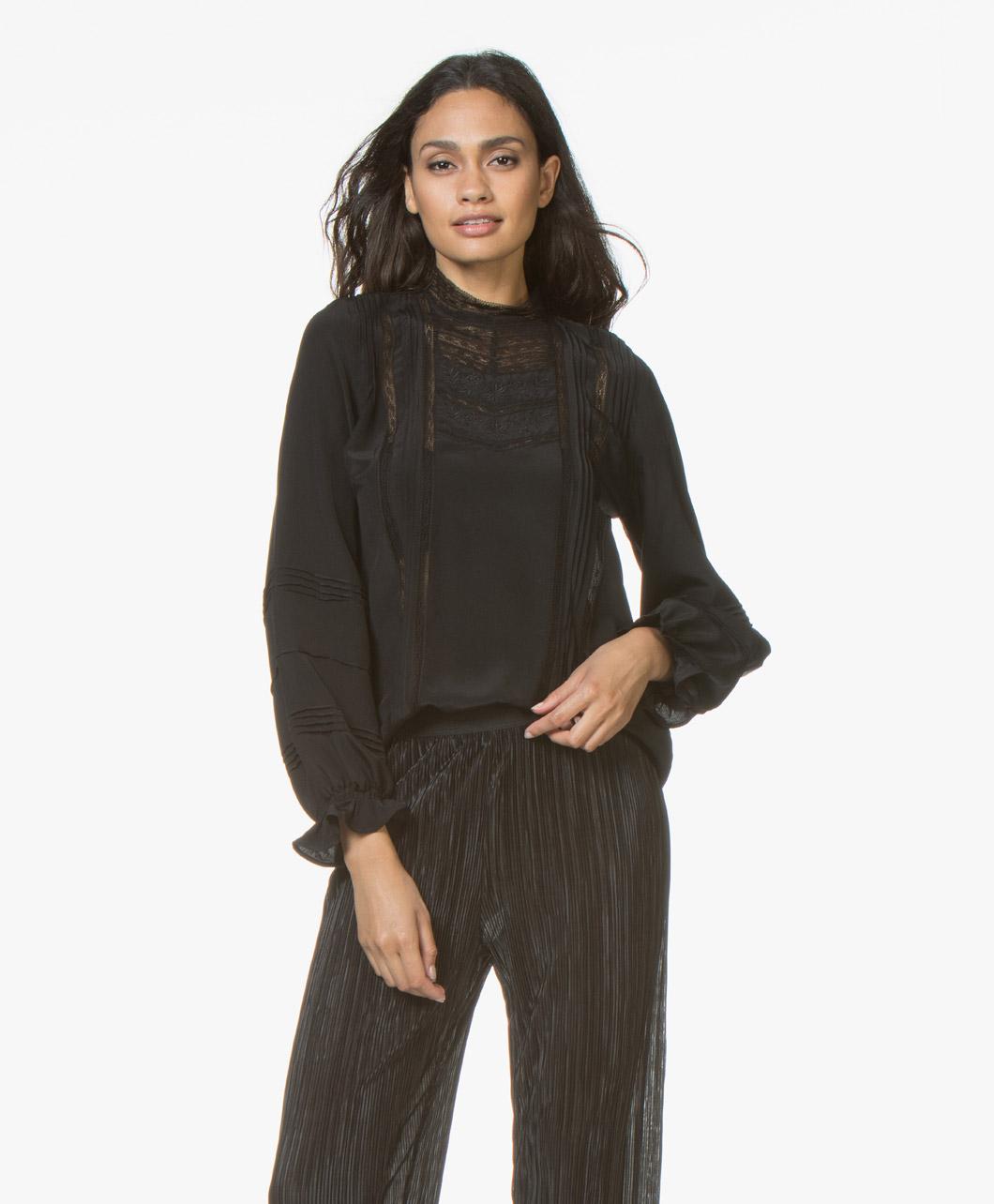 Vanessa Bruno Joia Silk Embroidered Blouse Black 8hva81 V09004 999 Noir
