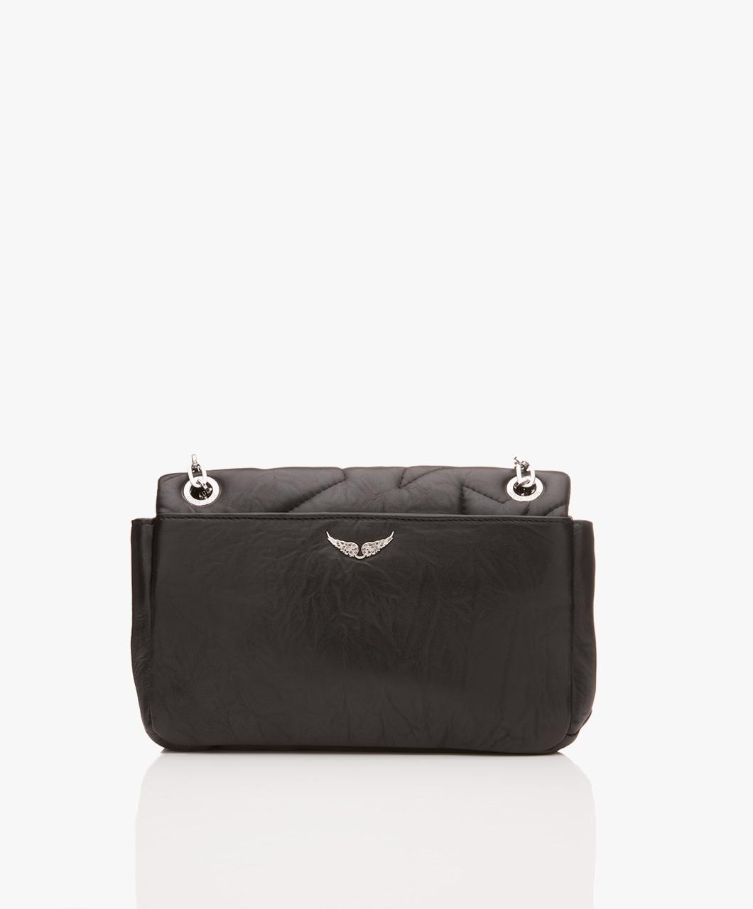 Zadig Voltaire Ziggy Matelasse Shoulder Bag Black Noir Satchel Mat Wgab2014f