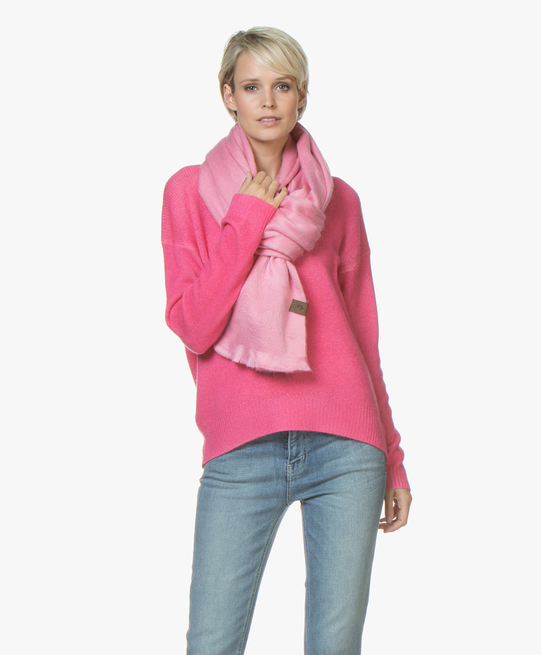 Obrázek Alpaca Loca Scarf Pink Handmade Uni