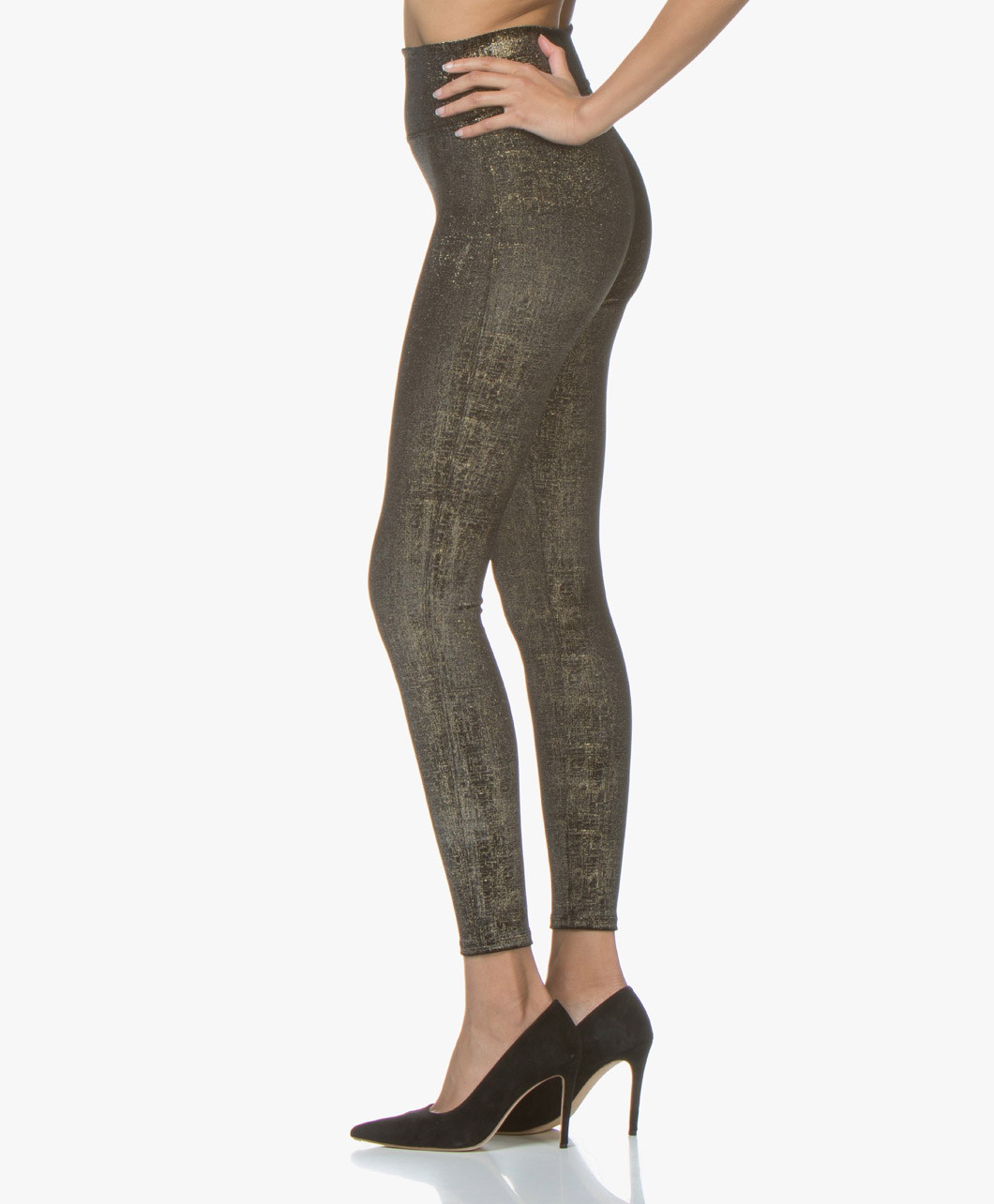 4d92223f3de9cb SPANX® Velvet Shine Leggings - Black/Gold - spx 20188r 0930