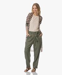 Indi & Cold Long Striped Linen Blend Cardigan - Militar