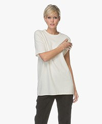 extreme cashmere N°64 Long Knitted Cashmere T-shirt - Cream