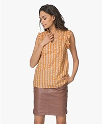 MKT Studio Hatali Mouwloze Print Top - Honey