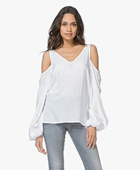 Denham Coast Cold Shoulder Blouse - Optic White