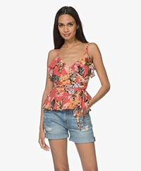 FWSS Sunniva Zijden Overslag Top - The Tropical Red