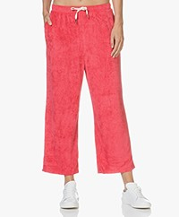 American Vintage Ponpon Velvet Cropped Sweatpants - Red Berries