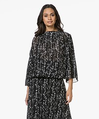 ba&sh Siam Plisse Blouse with Print - Black