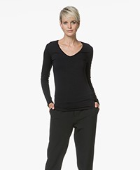 Majestic Filatures Amelie V-neck Long Sleeve T-shirt - Black