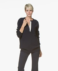 extreme cashmere N°66 Be Good Split Neck Cashmere Sweater - Navy