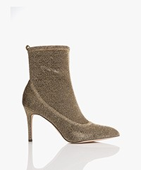 Sam Edelman Olson Pointed Toe Sock Bootie - Gold Metallic