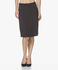LaSalle Viscose Jersey Skirt - Navy