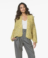 Kiro By Kim Chunky Knit Mohair Blend Cardigan - Yellow/Gold