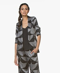 Majestic Filatures Silk Printed Blazer with Jersey Back Panel - Black/Grey