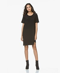 Norma Kamali Short Sleeve Travel Jersey Dress - Black