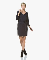Josephine & Co Jetje Knitted V-neck Dress with Waist Belt - Navy