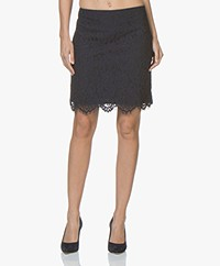 no man's land Scalloped Lace Skirt - Dark Sapphire