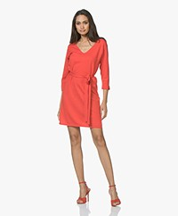 Josephine & Co Jetje Knitted V-neck Dress with Waist Belt - Red