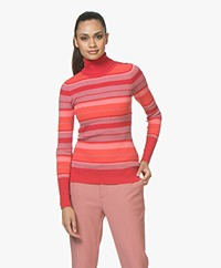 Plein Publique La Classe Silk Mix Turtleneck with Stripes - Red/Pink