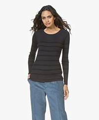Plein Publique L'Elisa Striped Pullover with Silk - Navy/Black