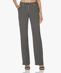 Equipment Lita Striped Silk Pants - Black/White