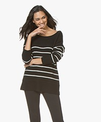Plein Publique La Blonde Cashmere Striped Sweater - Black