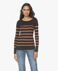 Plein Publique L'Elisa Striped Pullover with Silk - Navy/Cinnamon