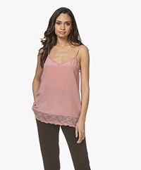 Repeat Zijden Camisole met Kant - Dusty Rose