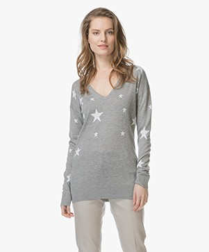 Baukjen Loxley Intarsia Star Print Sweater - Grey/Off-white