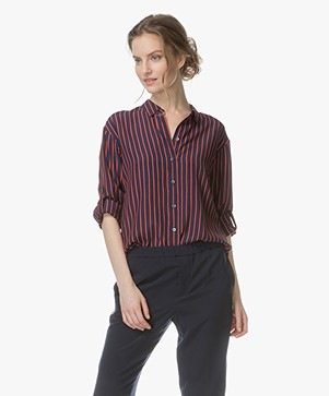 Closed Joan Silk Blend Striped Blouse - Peacock Blue