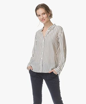 Closed Joan Silk Blend Striped Blouse - Light Champagne
