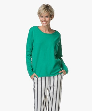 Closed Fine Knitted Sweater with Cashmere - Emerald